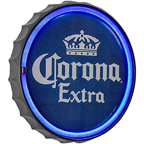 "American Art Decor Corona Extra LED Neon Light Sign Wall Decor - Corona Beer Bottle Cap LED Neon Sign for Man Cave, Bar, Garage, Game Room - USB Powered (12.5"")"