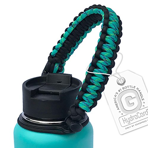 Gearproz Paracord Water Bottle Handle - America's #1 Original HydroCord with Safety Ring Holds Wide Mouth Bottles 12 oz to 64 oz - Top Ratings, 20+ Colors - Splash Profit Guards