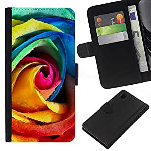 NEECELL GIFT forCITY // Billetera de cuero Caso Cubierta de protección Carcasa / Leather Wallet Case for Sony Xperia Z1 L39 // Rainbow Rose