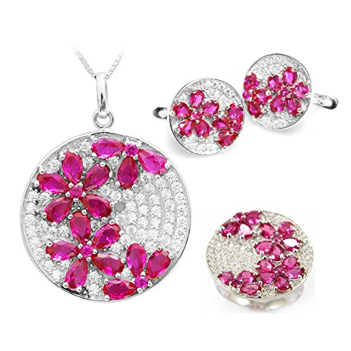 JewelryPalace Women's Luxury Pear Cut Created Red Ruby Pendant Clip On Earrings Engagement Ring Sets 925 Sterling Silver Size 7 by JewelryPalace