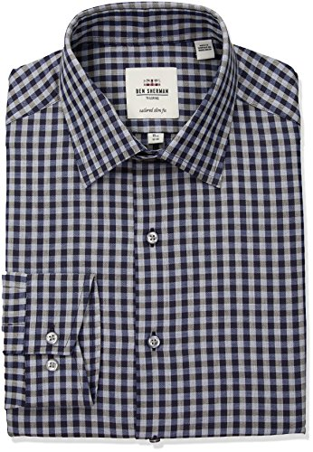Ben Sherman Men's Heather Check Florentine Spread Fit Dress Shirt, Multi, 15.5