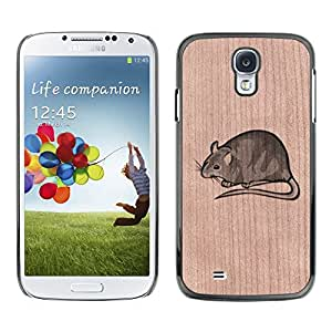 - / Rat Clipart Cute Rodent Pet - - Funda Delgada Cubierta Case Cover de Madera / FOR Samsung Galaxy S4 i9500 i9508 i959 / Jordan Colourful Shop/