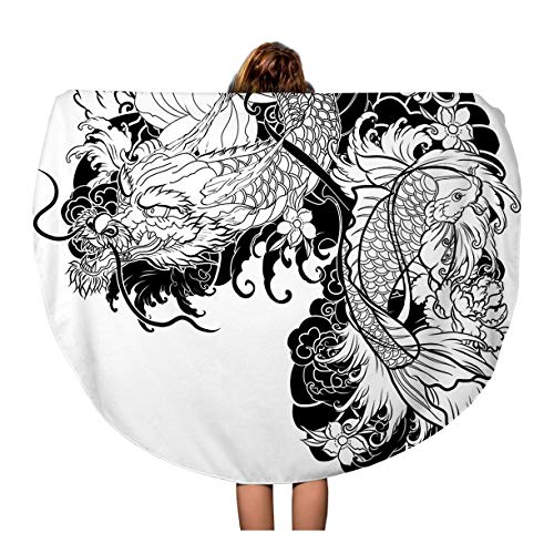 Semtomn 60 Inches Round Beach Towel Blanket Dragon and Koi Fish Flower Tattoo for Arm Japanese Travel Circle Circular Towels Mat Tapestry Beach Throw ()