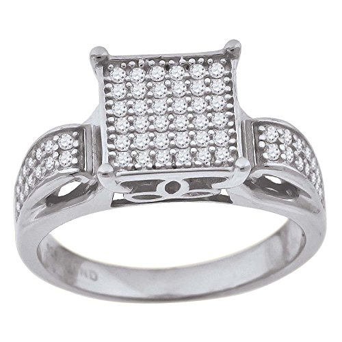 925 Sterling Silver Womens Cubic Zirconia CZ Sizes 6-9 Square Head Bridal Wedding Anniversary Engagement Ring Band