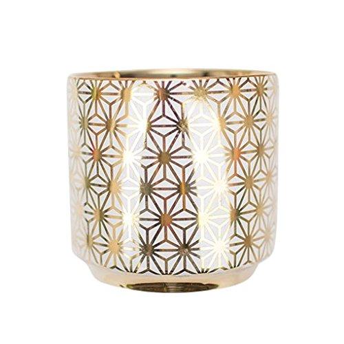Gold Ceramic Vase, Geometric Flower Pattern Vase, Star Pattern, 4.75 Inch, Bud Vase, Centerpiece, (White & Gold), (4 Pack)