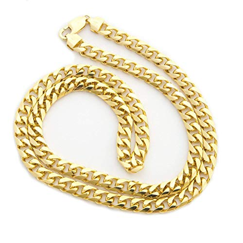 - 14K Gold Chain Necklace 9MM Smooth Cuban Curb Link Tarnish Resistant Fashion Jewelry Diamond Cut for Men