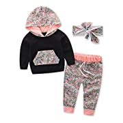 Infant Boy Printing Hoodie Tops Pants Headband Cotton Outfits Set Girls Clothes (Tag:70/3-6M)