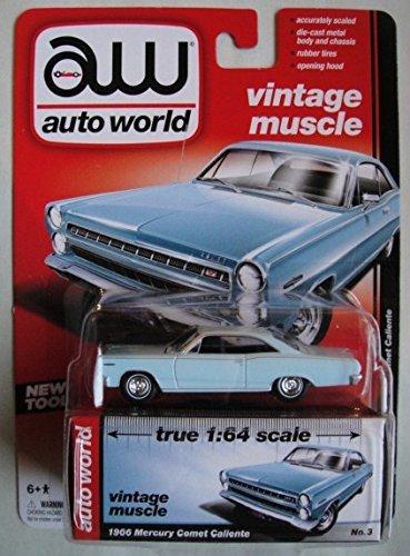 AUTO WORLD VINTAGE MUSCLE LIGHT BLUE 1966 MERCURY COMET CALIENTE NO.3 PREMIUM SERIES RELEASE 3