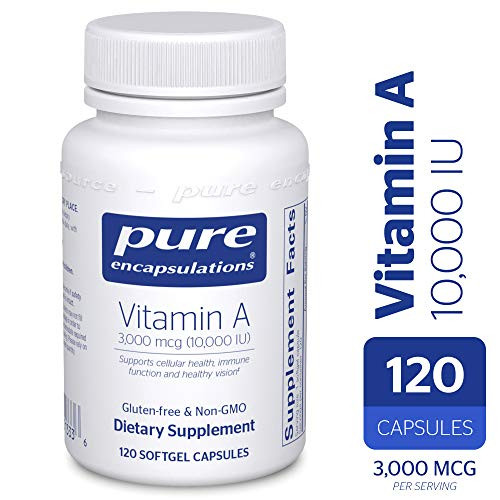 (Pure Encapsulations - Vitamin A 10,000 IU - Supports Vision, Growth, Reproductive Function, Immunity, Skin and Mucous Membranes* - 120 Softgel Capsules)