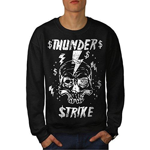 [Skull Thunder Strike Lightning Men NEW S Sweatshirt | Wellcoda] (Thunder Lightning Costume)