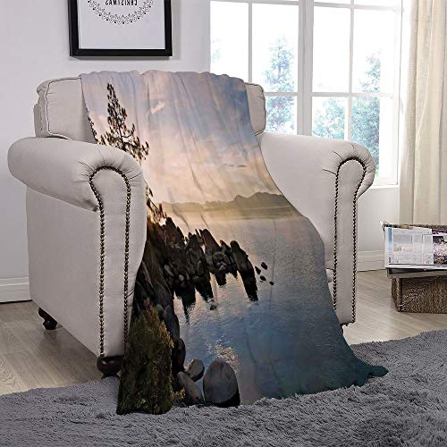 t Fleece Throw Blanket/Lake,Lake Tahoe at Sunset with Clear Sky and Single Pine Tree Rest Peaceful Weekend Photo,Blue Grey/for Couch Bed Sofa for Adults Teen Girls Boys ()