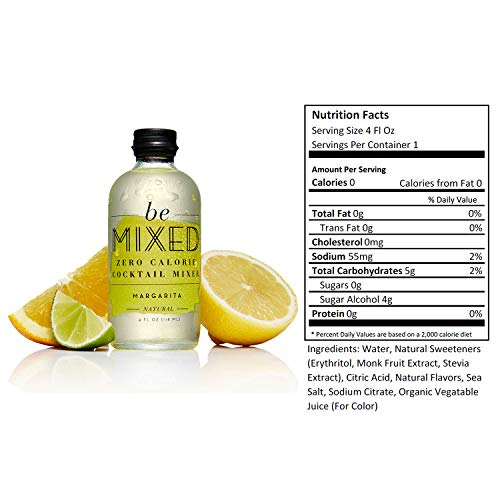 Zero Calorie Margarita Cocktail Mixer by Be Mixed | Low Carb, Keto Friendly, Sugar Free and Gluten Free Drink Mix | 4 oz Glass Bottles, 12 Count by Be Mixed (Image #1)