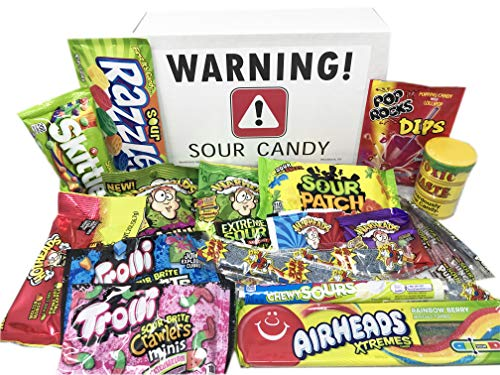 Super Sour Candy Assortment with Toxic Waste, Sour Patch Kids, Warheads Extreme Hard Candy, Belts, Smashups, Straws, Pop Rocks Dip, Skittles, Watermelon Sour Candies ~ Jr