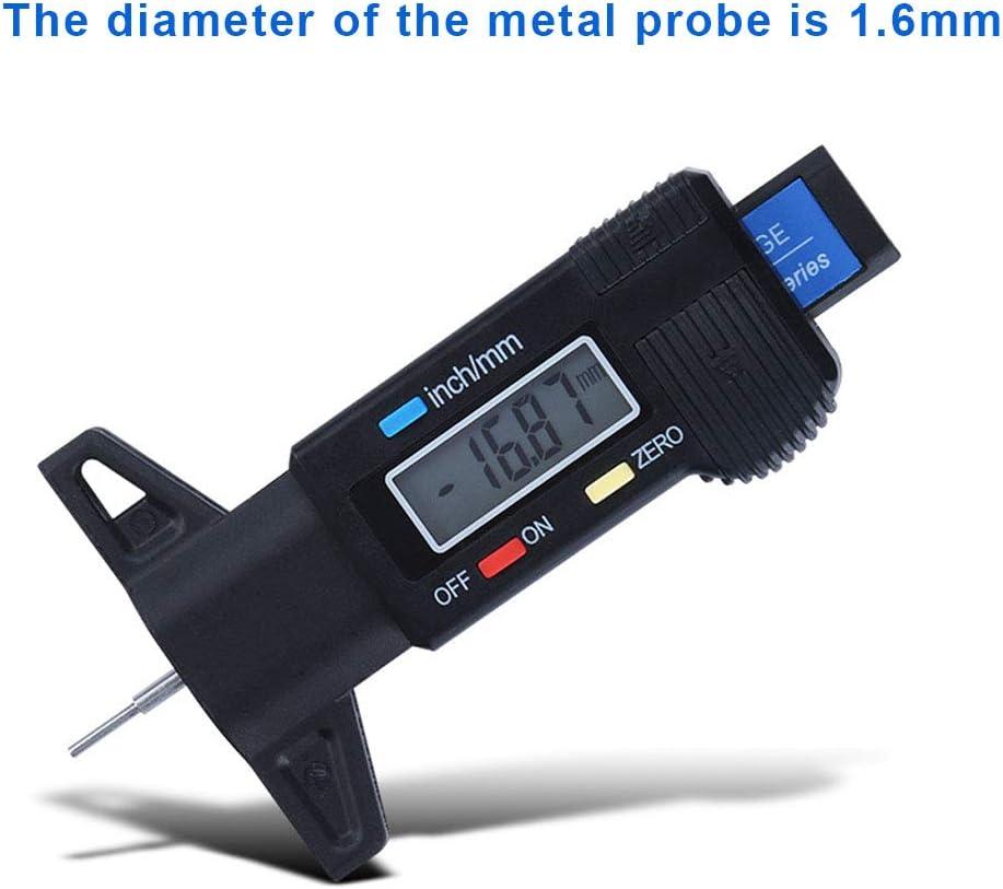 Guangcailun Digital Car Profundidad del neum/ático probador 0-25mm la Profundidad del neum/ático calibrador del Metro de la Pantalla LCD de Neum/áticos medici/ón del Calibre