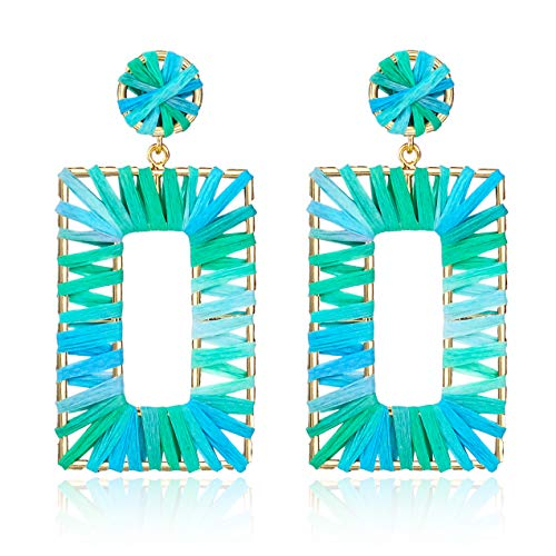 (Statement Raffia Earrings Hoop Geometric Beaded Handmade Colorful Bohemian Dangle Earrings for Women Girls)