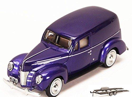 Diecast Car & Trailer Package - 1940 Ford Sedan Delivery, Purple - Motormax 73250P - 1/24 Scale Diecast Model Car w/Trailer
