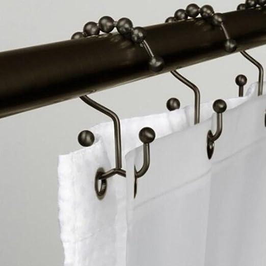 12 unidades Hvoz Anilla de cortina de ducha liso para ba/ño ganchos de metal resistente al /óxido
