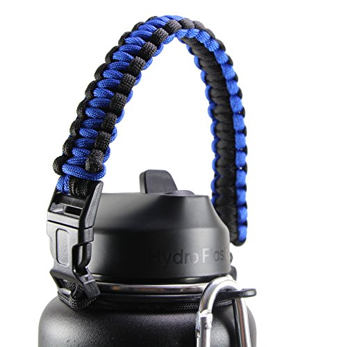 Hydro Flask Handle For Wide Mouth Bottle - Durable Paracord Carrier, Secure Design Accessories, Survival Strap Cord with Safety Ring and Carabiner, Premium Quality