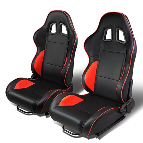 - Set of 2 Universal Type-R PVC Leather Reclinable Racing Seats w/Sliders (Black Body/Red Line)