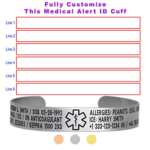 Price comparison product image Dolceoro Medical Alert Medical ID Bracelet Cuff 12mm Wide, 316L Stainless Steel - PERSONALIZE IT