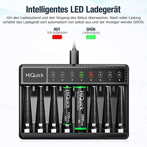 HiQuick Akku ladegerät inkl. 4X AA 2800mAh und 4X 1100mAh für AA/AAA Akku NI-MH NI-CD Schnell Ladegerät, 8 Fach Multi Batterie ladegerät mit LED Anzeige