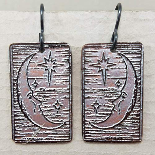 Etched Copper Moon Beam Earrings ()