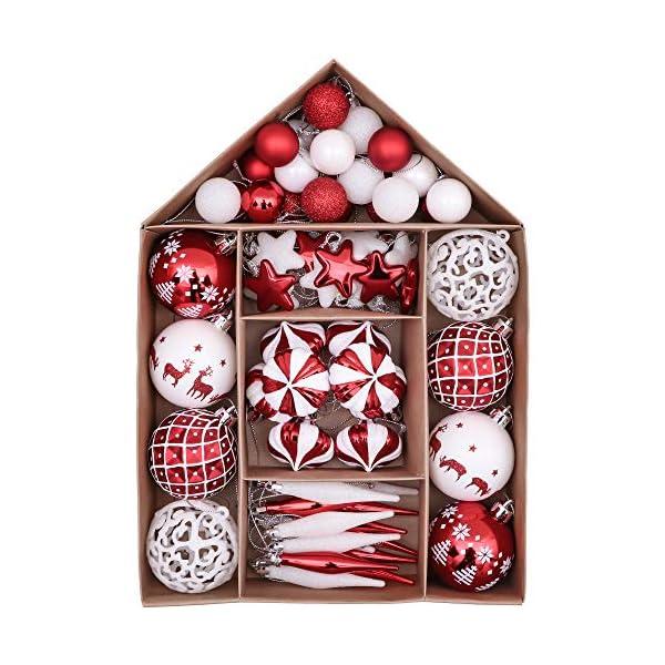 Victor's Workshop 70 Pezzi di Palline di Natale, 3-6 cm Tradizionali Ornamenti di Palle di Natale Infrangibili Rossi e Bianchi per la Decorazione Dell'Albero di Natale 1 spesavip