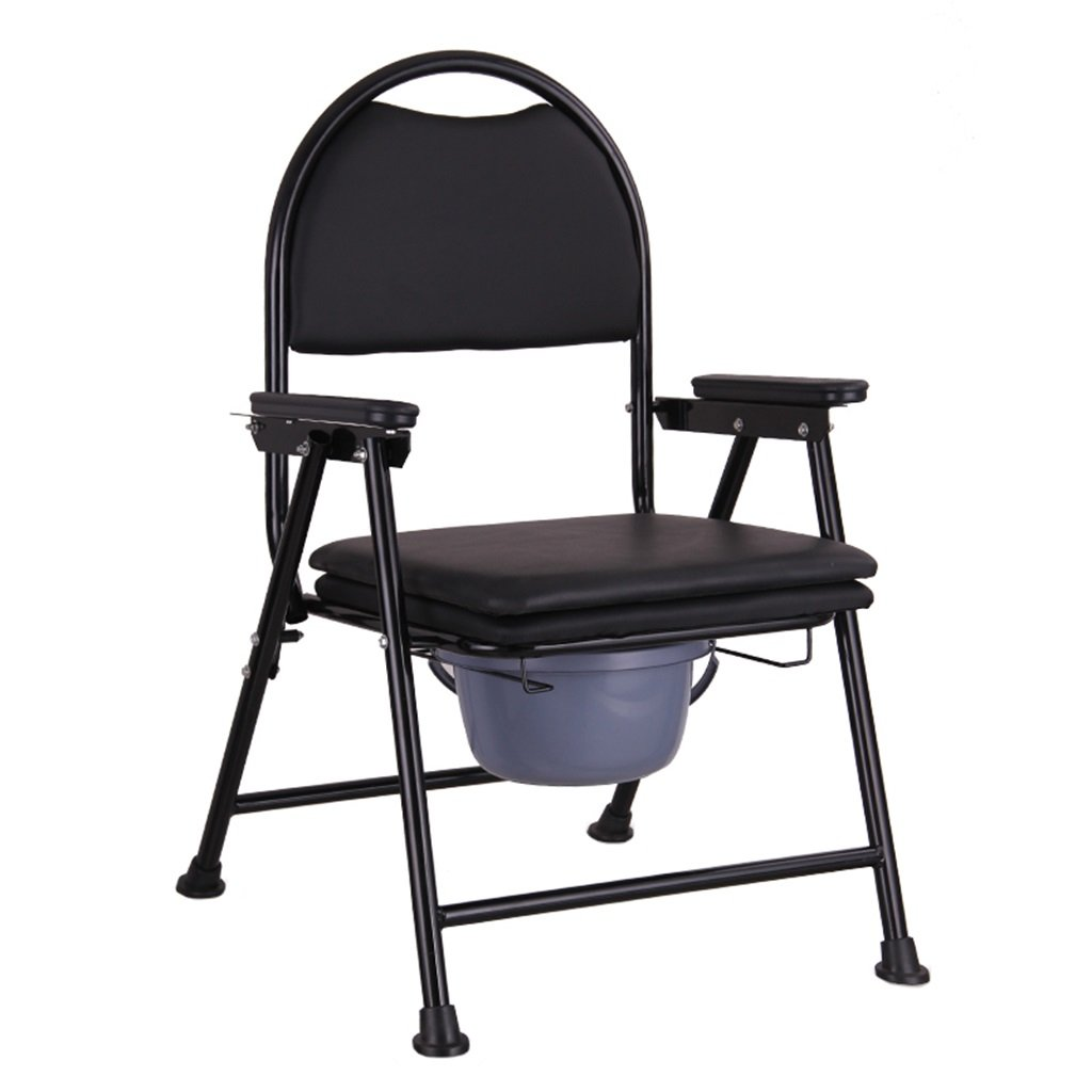 黒い折りたたみ式トイレシート付きトイレ椅子アンチスリップ耐久性のある丈夫なバスシャワースツール高齢者/妊婦/障害者トイレチェア最大80kg B07DL7816T