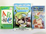 Kids and Children 3 Pack VHS Movies: Dr. Seuss How the Grinch Stole Christmas Boris, Dr. Seuss's ABC (Plus 2 more classics - I can read with my eyes shut and Mr. Brown can Moo! can you, Shrek