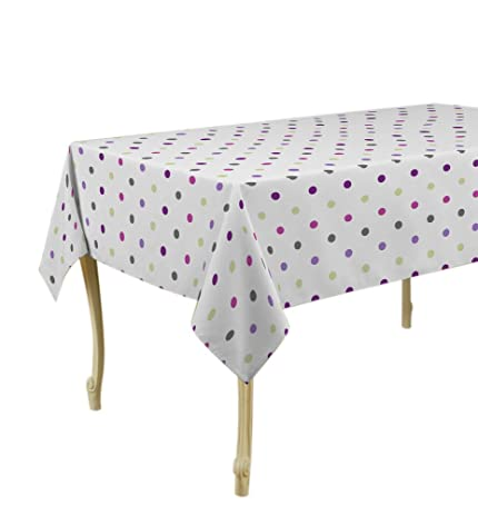 60 X 95 Inch Rectangular Tablecloth White With Multicolor Dots, Stain  Resistant, Washable