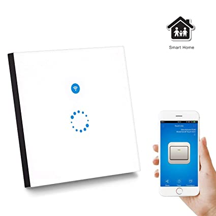 Sonoff WiFi Smart Touch Switch Panel Echo/Echo Dot and eWeLink APP Control,  AOZBZ Remote Control 1 Gang 1 Way Wall Light Switches Power Socket Support