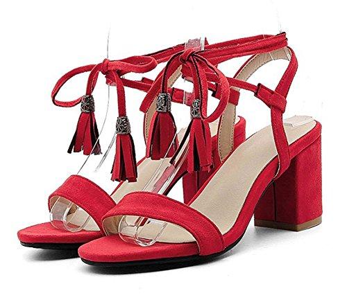 Easemax Womens Elegante Open Toe Con Frange In Camoscio Faux Con Laccetto Alla Caviglia Wrap Mid Sandali Con Tacco Grosso Rosso