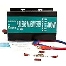 Reliable 800W 12V DC to Dual 120V AC Outlets Pure Sine Wave Solar Power Inverter Home Power Supply Car Adaptor(Black)