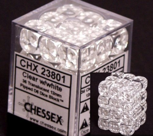 Chessex Dice d6 Sets: Clear with White Translucent - 12mm Six Sided Die (36) Block of Dice]()