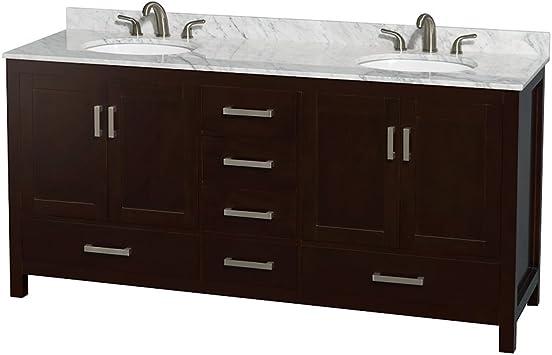 Wyndham Collection Sheffield 72 Inch Double Bathroom Vanity In Espresso White Carrara Marble Countertop Undermount Oval Sinks And No Mirror Amazon Com