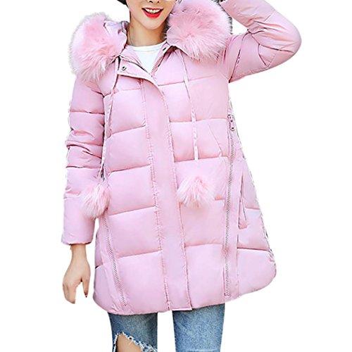 Mujer Chaqueta Largo Ropa Slim Caliente Pelo De Invierno Rosa Cuello xRwCzwq