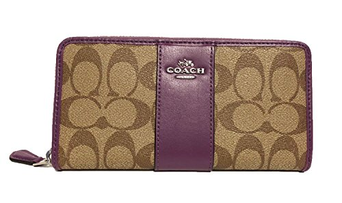 COACH ACCORDION ZIP WALLET IN SIGNATURE F54630 (SV/Kahki/Berry) (Purses Coach Purse)