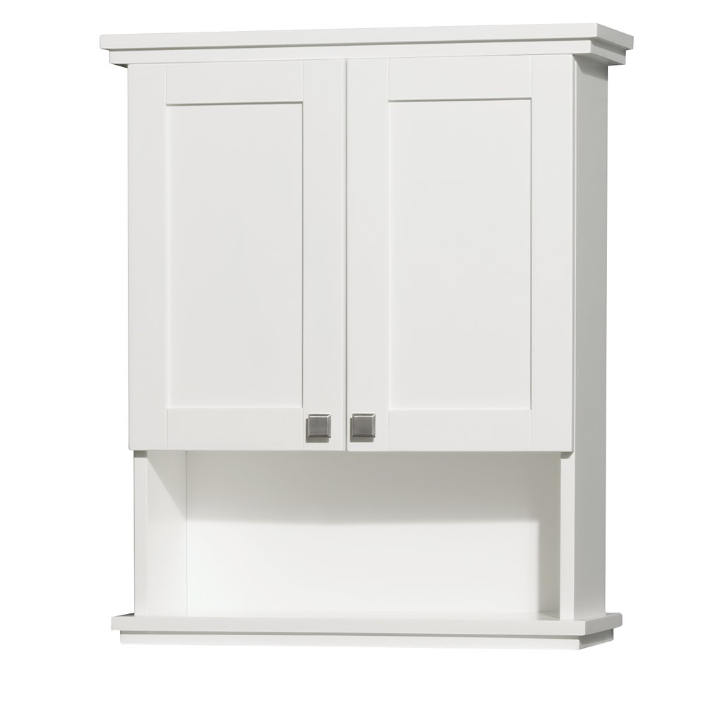 Amazon.com: Wyndham Collection Acclaim Solid Oak Bathroom Wall Mounted Storage  Cabinet In White: Home Improvement