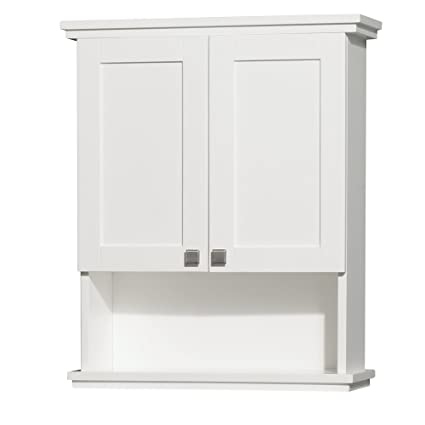 Merveilleux Amazon.com: Wyndham Collection Acclaim Solid Oak Bathroom Wall Mounted  Storage Cabinet In White: Home Improvement