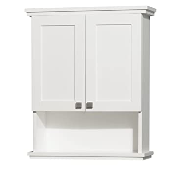 wyndham collection acclaim solid oak bathroom wallmounted storage cabinet in white