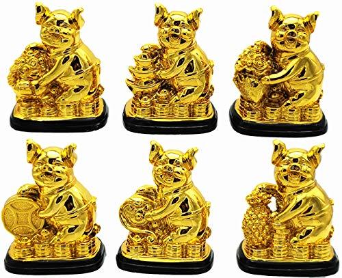 Betterdecor A Set of Feng Shui 2019 Chinese Lunar Year Zodiac Pig/Boar Statue Figurine Decoration for Abundance Luck (Logo Bag)