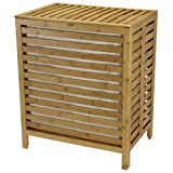 Household Essentials 6216-1 Natural Bamboo Laundry Hamper with Hinged Lid and Cotton Liner