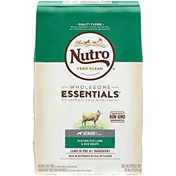 Nutro WHOLESOME ESSENTIALS Senior Pasture-Fed Lamb & Rice Recipe Dry Dog Food Plus Vitamins, Minerals & Other Nutrients, (1)30 lbs, Delicious Lamb Flavor; Rich in Nutrients and Full of Flavor