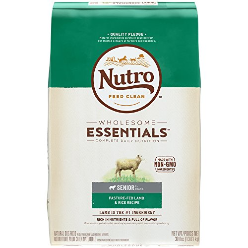 NUTRO WHOLESOME ESSENTIALS Senior Pasture-Fed Lamb & Rice Recipe Dry Dog Food Plus Vitamins, Minerals & Other Nutrients, (1)30 lbs., Delicious Lamb Flavor; Rich in Nutrients and Full of (Delicious Rice)