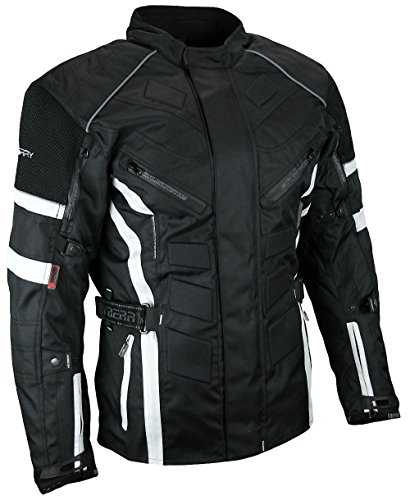Herren Touren Motorradjacke Textil Heyberry schwarz weiß Gr. XL