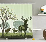 Antlers Decor Shower Curtain Set By Ambesonne, Deer And Wildlife In Park World Natural Heritage Forest Areas Reindeer, Bathroom Accessories, 69W X 70L Inches