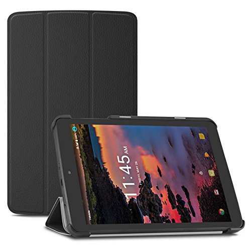 Infiland Alcatel A30 Tablet Case- Tri-Fold Ultra Slim Stand Smart Case Cover for T-Mobile Alcatel A30 8 inch Tablet 9024W 2017 Released, Black