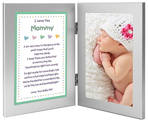 Christmas Gift for New Mom - Sweet Mommy Poem From Daughter in Double Frame - Add Photo (Christmas Poems For Moms)