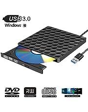 MasterizzatoreCDDVDEsterno USB 3.0 Portatile Unità DVD Slim Lettore DVD Esterno per Windows10 / 7/8, laptop, Mac, Macbook Air/Pro, Apple, Desktop, PC - Nero