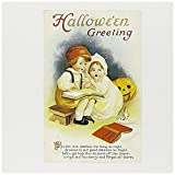 """3dRose Halloween, Small Children Reading A Scary Bbook Greeting Cards, 6"""" x 6"""", Set of 6 (gc_126096_1)"""